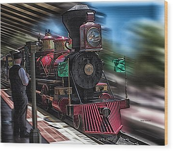 Train Ride Magic Kingdom Wood Print by Thomas Woolworth