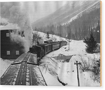 Train Ride Through The Snow Wood Print by Retro Images Archive