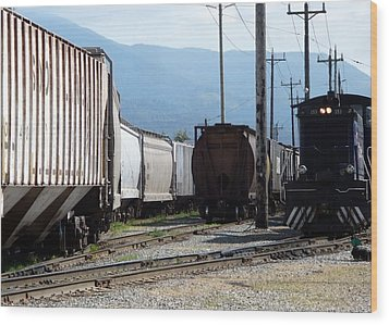 Train Shunting Station Wood Print by Nicki Bennett