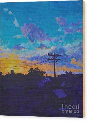 Train Side Sunrise Wood Print
