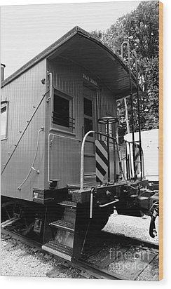 Train - The Caboose - Black And White Wood Print by Paul Ward