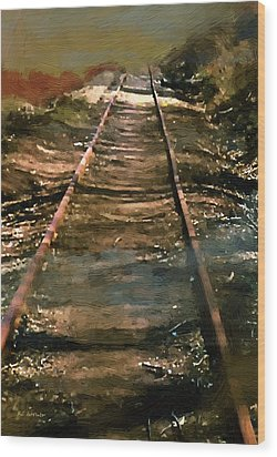 Train Track To Hell Wood Print by RC deWinter