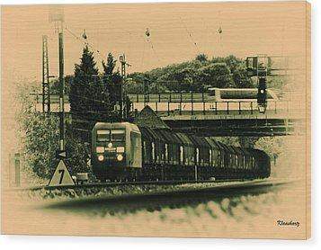 Train Travel In The Future Wood Print