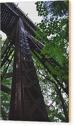 Train Trestle In The Woods Wood Print by Michelle Calkins