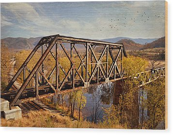 Train Trestle Wood Print by Kathy Jennings