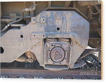 Train Wheel Wood Print by Russell Christie