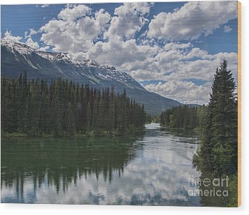 Train Window View Of Lake And Canadian Rockies Wood Print