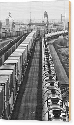 Wood Print featuring the photograph Trains Stop For Servicing by Bill Kesler