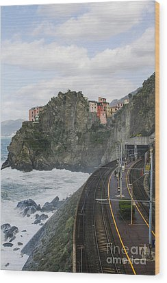 Trainstation In Manarola Italy Wood Print by Patricia Hofmeester