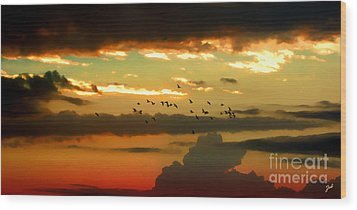 Sunset 1 Wood Print by Ze  Di