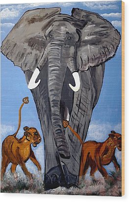 Wood Print featuring the painting Trampling Elephant by Nora Shepley