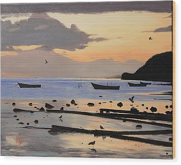 Wood Print featuring the painting Tranquil Dawn by Glenn Beasley