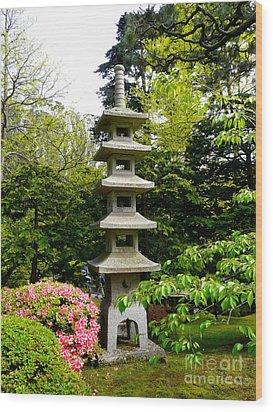 Tranquil Japanese Garden Wood Print by Avis  Noelle