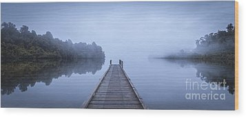 Tranquil Lake And Misty Dawn Panorama Wood Print by Colin and Linda McKie