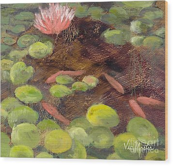 Tranquil Moments-rectangle With Gold Leaf By Vic Mastis Wood Print by Vic  Mastis
