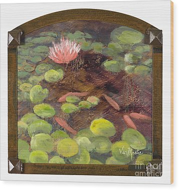 Tranquil Moments With Gold Leaf By Vic Mastis Wood Print by Vic  Mastis