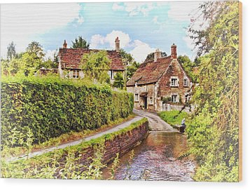Tranquil Stream Lacock Wood Print by Paul Gulliver