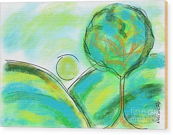 Tranquil Tree No1 Wood Print by Mary C Wells