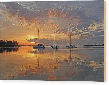 Tranquility Bay - Florida Sunrise Wood Print by HH Photography of Florida