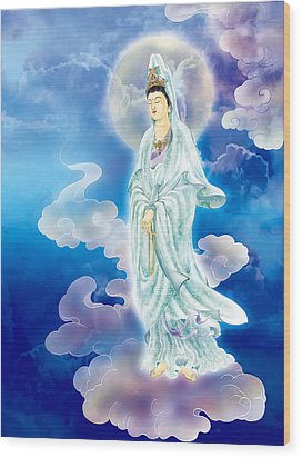 Wood Print featuring the photograph Tranquility Enabling Kuan Yin by Lanjee Chee