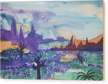 Wood Print featuring the painting Tranquility II by Ellen Levinson
