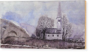 Wood Print featuring the painting Tranquility by Jasna Dragun