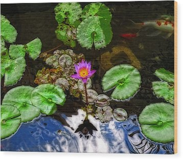 Tranquility - Lotus Flower Koi Pond By Sharon Cummings Wood Print by Sharon Cummings