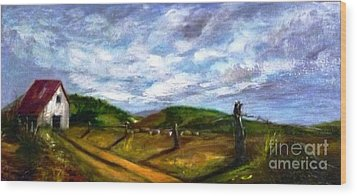 Wood Print featuring the painting Tranquility - Original Sold by Therese Alcorn