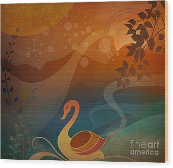 Tranquility Sunset Wood Print by Bedros Awak