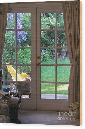 Tranquility Through French Doors Wood Print by Bev Conover
