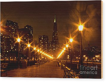 Transamerica Pyramid From Pier Wood Print by Suzanne Luft
