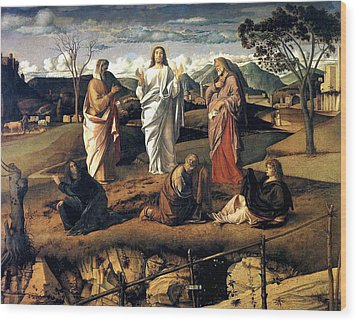 Wood Print featuring the painting Transfiguration Of Christ 1487 Giovanni Bellini by Karon Melillo DeVega