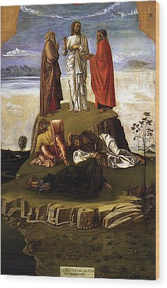 Wood Print featuring the painting Transfiguration Of Christ On Mount Tabor 1455 Giovanni Bellini by Karon Melillo DeVega