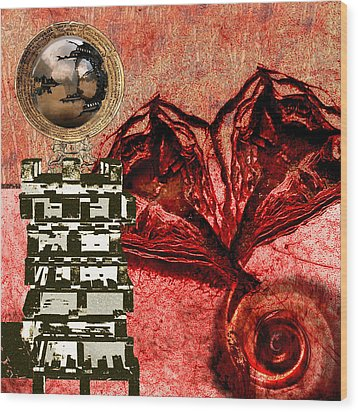 Transfusion Into A Wooden Heart Wood Print by Maria Jesus Hernandez