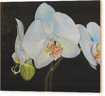 Wood Print featuring the painting Translucent Orchids by Sandra Nardone