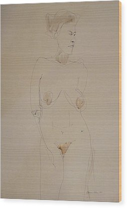 Transparent Nude Wood Print by Esther Newman-Cohen