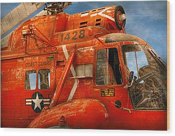 Transportation - Helicopter - Coast Guard Helicopter Wood Print by Mike Savad