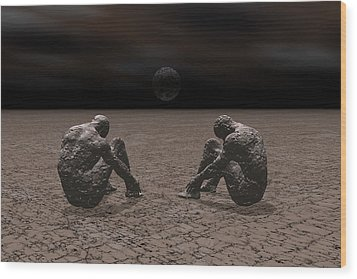 Wood Print featuring the digital art Trapped In Depression by Claude McCoy