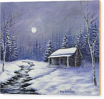Trapper's Cabin Wood Print by Jerry Walker