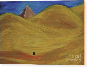 Wood Print featuring the drawing Travelers Desert by First Star Art