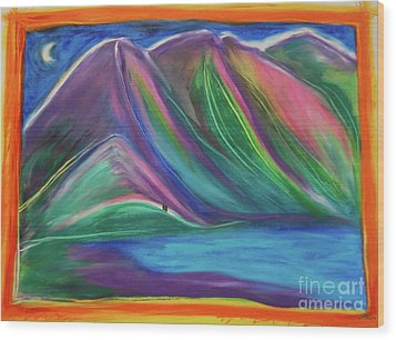 Wood Print featuring the painting Travelers Mountains By Jrr by First Star Art