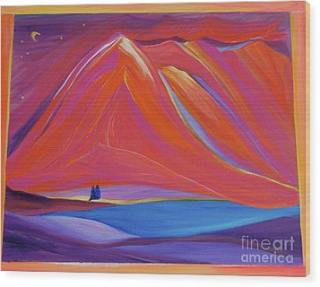 Wood Print featuring the painting Travelers Pink Mountains by First Star Art
