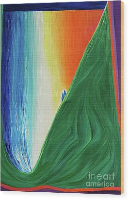 Wood Print featuring the painting Travelers Rainbow Waterfall By Jrr by First Star Art