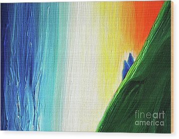 Wood Print featuring the painting Travelers Rainbow Waterfall Detail by First Star Art