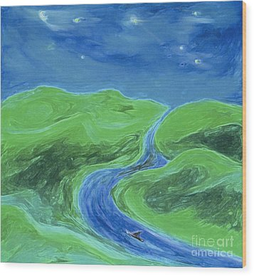 Wood Print featuring the painting Travelers Upstream By Jrr by First Star Art