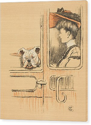 Traveling In First Class Wood Print by Cecil Charles Windsor Aldin