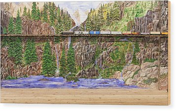 Wood Print featuring the painting Traveling The Rails Wall Mural by Alethea McKee