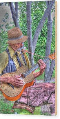 Traveling Troubadour Wood Print by Putterhug  Studio