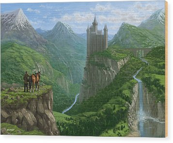 Traveller In Landscape With Distant Castle Wood Print