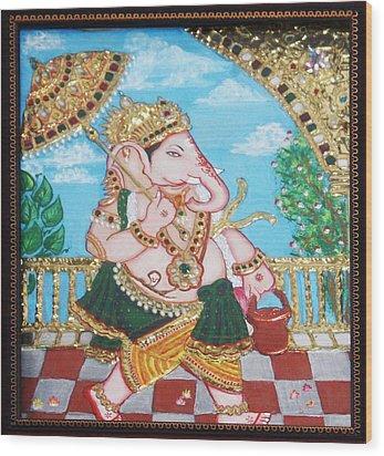 Travelling Ganesh Wood Print by Jayashree